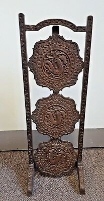 Unique Asian Oriental 3 Tier Folding Stand - Hand Carved Dragons & Flowers
