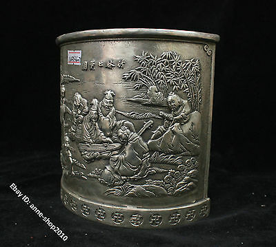 16cm Collect Chinese Old silver Handmade Seven cents Pen holder statues