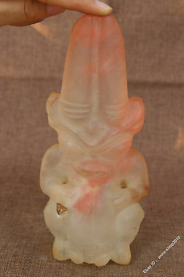 """8"""" Collect China Hongshan Culture Old Crystal Mam Woman Beast Sun God Statue 107"""