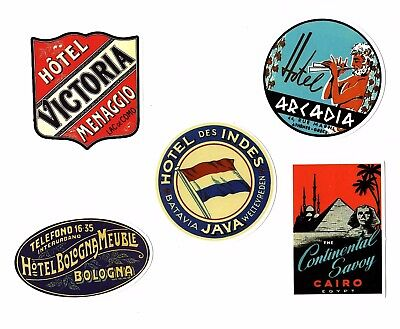 Aufkleber Sticker Set 5St Vintage Reise Travel Hotel Koffer Laptop Vinyl Set 1