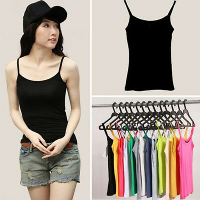 Girl Women's Casual Tank Tops Strap Vest Sleeveless Tee Shirts Solid Color