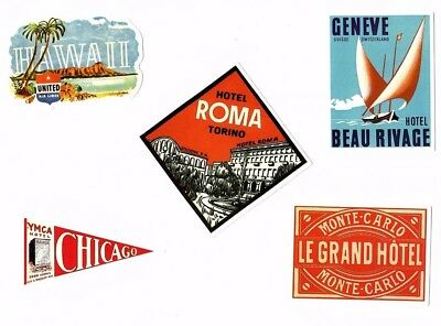 Aufkleber Sticker Set 5St Vintage Reise Travel Hotel Koffer Laptop Vinyl Set 4