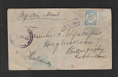 NETHERLANDS POSTOFFICE SINGAPORE 1946 airmail cover to Holland POSTAGE DUE
