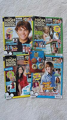 4 x Disney High School Musical official Magazines Feb-May 2008 + badges RARE