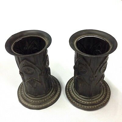 Antique Pair Of Bronze Weighted Gothic Style Style Spill Vases 10cm High