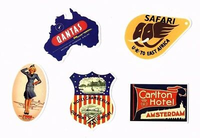 Aufkleber Sticker Set 5St Vintage Reise Travel Hotel Koffer Laptop Vinyl Set 3
