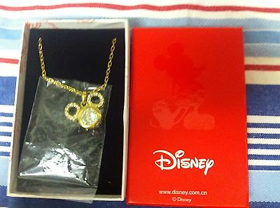 "Mickey Mouse Disney Hong Kong Crystal Necklace Gold Colour Approx 28"" New In Box"