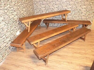 Old Vintage Retro Pine School Assembly, Gym, Canteen Fold Up Bench. 5 Available.