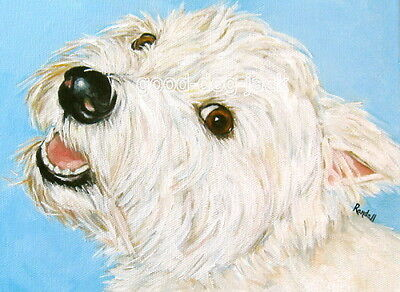 West Highland Terrier WESTIE MATTED PRINT Painting MOLLY'S SMILE Dog Art RANDALL