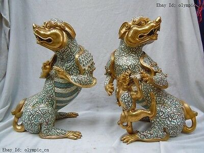 "14"" Old China pure bronze 24K gold cloisonne dragon son ""suan ni"" Pair Statue"