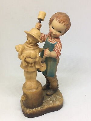 Anri Club Italy #14 Boy Carving Wood Figurine Sheep Ferrandiz Wooden 4.5""