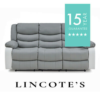 FORTROSE LazyBoy Two-Tone Grey Leather Recliner sofas 3 + 2 + Armchairs