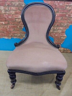 victorian spoon back nursing chair, ebonised.