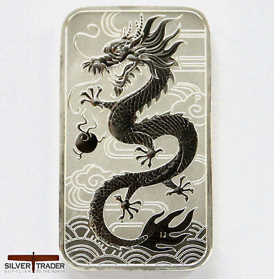 2018 Australian Dragon 1 oz Rectangular Silver Bullion Coin unc: