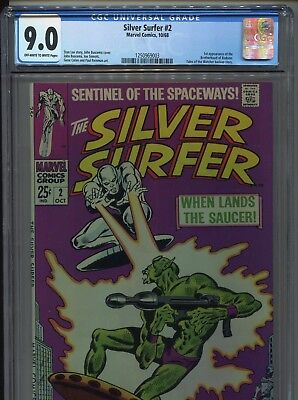 1968 Marvel Silver Surfer #2 1St Appearance Brotherhood Of Badoon Cgc 9.0 Ow-W