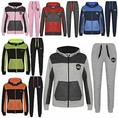 Kids Tracksuit Boys Girls Designer's Zipped Top & Bottom Jogging Suit 7-13 Years