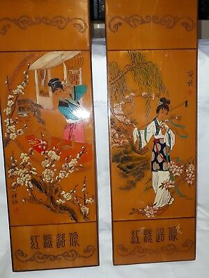 2 collectables wooden oriental wall plaques