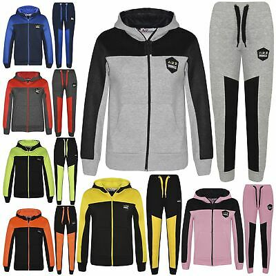 Kids Tracksuit Designer's Girls Boys Zipped Top & Bottom Jogging Suit 7-13 Years