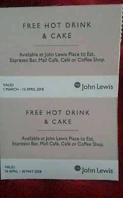 2 unused hot drink and cake John Lewis vouchers