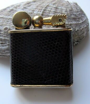 Vintage French  Lift Arm Art Deco Leather Petrol lighter