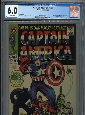 1968 Marvel Captain America #100 Premiere Issue Cgc 6.0 Cr Pages