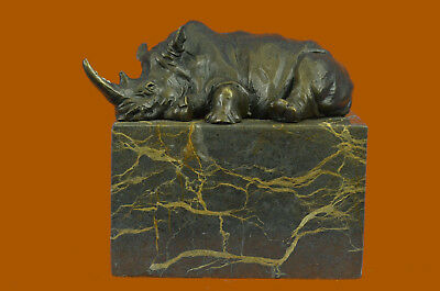Signed Original Rhinoceros Rhino w/ Horn Bronze Sculpture Art Deco Style Gift