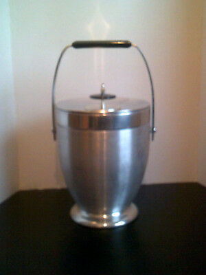 VINTAGE MCM KROMEX Large Aluminum Insulated Ice Bucket W/Black Handle