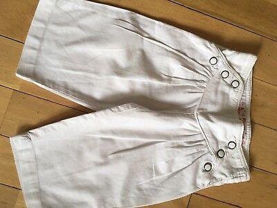 2 Pairs Of Cute Linen Monsoon Cropped Wide Trousers Age 6-7 White And Coral