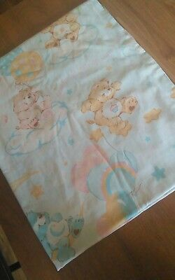 Vintage Care Bear Twin Flat Sheet 1980s Fabric Craft Bed Sweet Quotes Amer Grtng