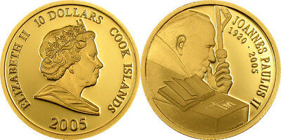 2005 .9999 PURE GOLD Cook Island Commemorative POPE JOHN PAUL II COIN $10 GOLD