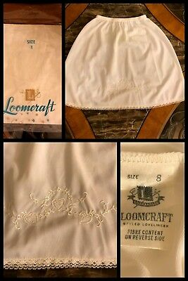 1970s NEW Vintage LOOMCRAFT Girls Half Slip White Lace Elastic Embroidered Sz 8