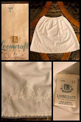 1970s NEW Vintage LOOMCRAFT Girls Half Slip White Lace Elastic Embroidered Sz 12