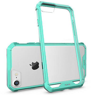 For iPhone 8, iPhone 7 Case Huffii Slim Scratch Resistant ShockProof Clear Teal
