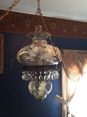 Victorian style hanging lamp, electrified
