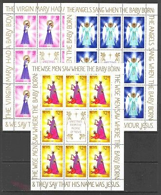 1980 Nevis #118-120 Mini-Sheets of 12 Christmas Stamps