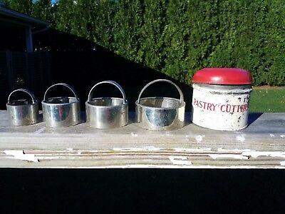 RARE Vintage Set Tala Pastry Cutters Red & White Tin 4 round Made in England