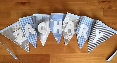 Personalised Baby Boy Handmade Bunting (per letter/flag)
