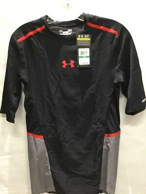 NWT Under Armour Men's ClutchFit Half Sleeve Shirt, Black/Gray/Red, L (BS)
