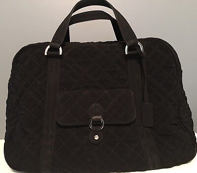 Vera Bradley Black Quilted Microfiber Weekend Carry On Large Duffel