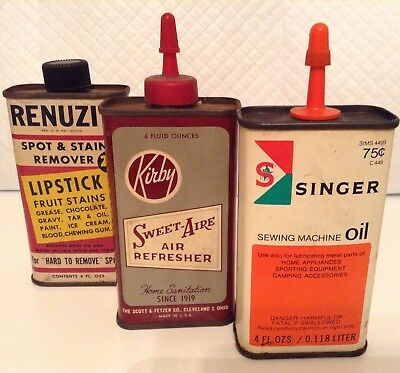 Vintage (3) Lot collectble tin Singeroil, Kirby air fresh, RENUZIT stain remover