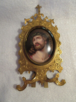 Antique Hand Painted Miniature Porcelain Jesus Crown Of Thorns In Brass Frame