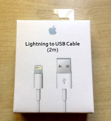 Extra Long 2M Genuine Apple iPhone 5 6 7 8 X Lightning USB charging cable Lead