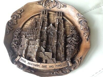 Resin Black Forest Style Plaque of York Bootham Bar and Minster