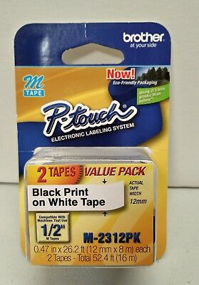 NEW Brother M-231 2 Pack M231 M2312PK Black on White P-Touch Adhesive Label Tape