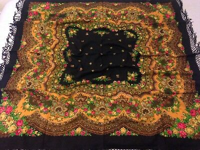 Black Russian Turkman Shawl Scarf Floral Red Fringed Rare Authentic 100% Wool
