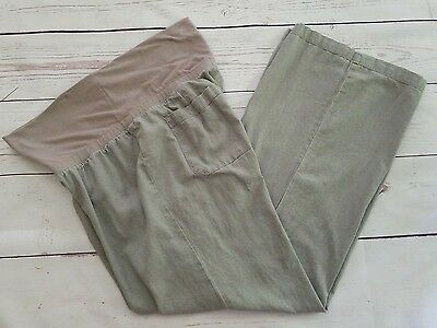 Old Navy Maternity Pants Size L Large Gray Linen Summer Casual Work Inseam 30