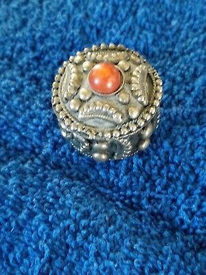 Vintage Sterling & Stone Pill Box Made in India