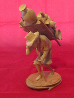 Carved Wooden Figure of Man Carrying Pots from Guatemala