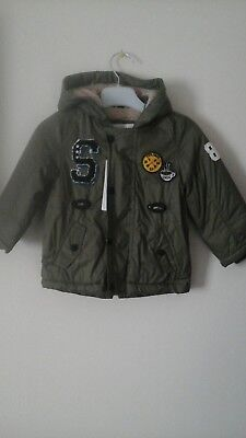 Boys hooded lined Jacket- M&S Kids. age 9/12 months. Colour Khaki-BNWT RRP£34.00