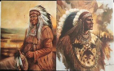 (4) RUANE MANNING Litho Print CHIEF Native American Indians Donald Art 10X8